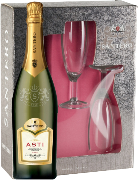 Asti Santero White Sweet, 2 glasses gift box