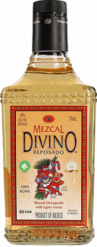 Divino Mezcal Reposado, with the caterpillar